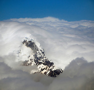Snow covered Volcano, Aerial view over Quito area, Quito, Andes Mountains, Ecuador