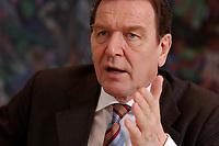 09 JAN 2002, BERLIN/GERMANY:<br /> Gerhard Schroeder, SPD, Bundeskanzler, waehrend einem Interiew, in seinem Buero, Bundeskanzleramt<br /> Gerhard Schroeder, SPD, Federal Chancellor of Germany, during an interview, in his office<br /> IMAGE: 20020109-02-014<br /> KEYWORDS: Gerhard Schr&ouml;der