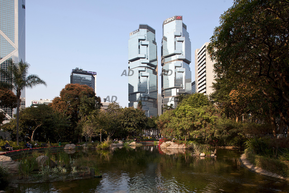 Hong kong Park. On the background the Lippo Centre, designed by Rory Boland.