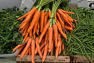 Salinas Valley Carrots, Collard Greens and String Beans at Old Monterey Farmers Market, California
