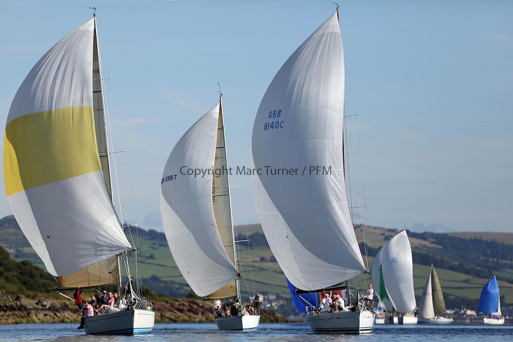 Peelport Clydeport Largs Regatta Week 2013 <br /> <br /> Class 1 Fleet Downwind, GBR9740R, Sloop John T, Swan 40, Iain &amp; Graham Thomson, CCC, GBR8140C, Zephyr, First 40, Steven Cowie, RGYC<br /> <br /> Largs Sailing Club, Largs Yacht Haven, Scottish Sailing Institute