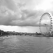Storm Clouds Over The Thames - London, UK - Black & White