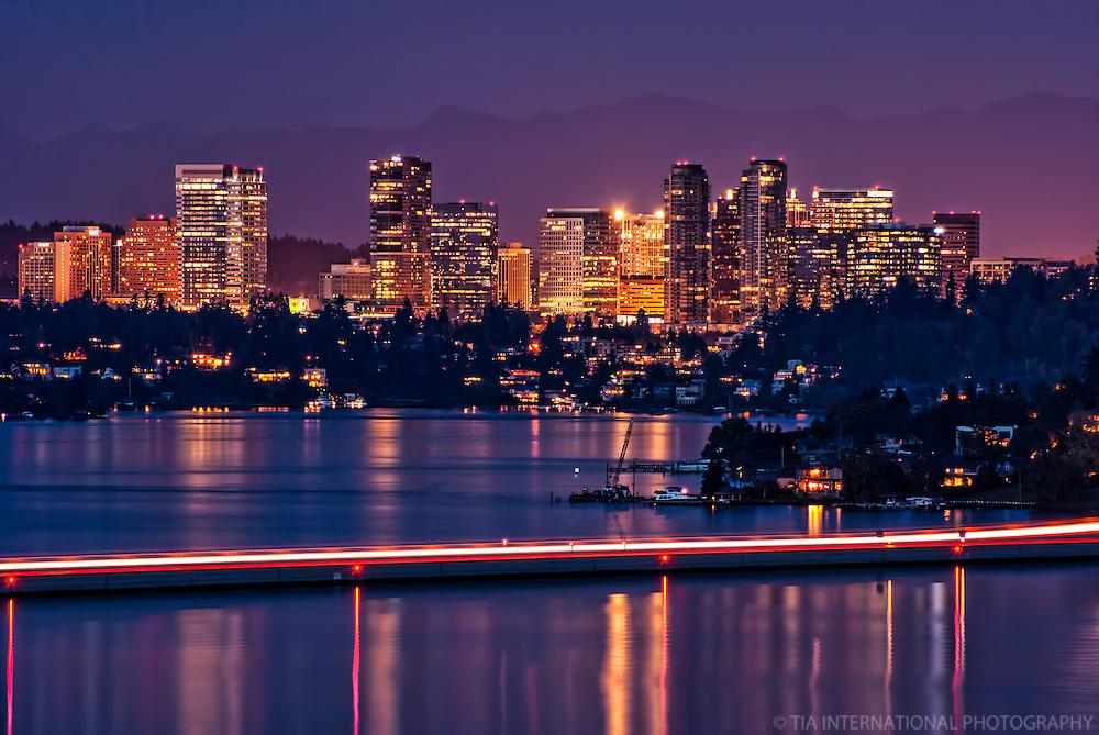 Bellevue Skyline & Lake Washington (Night)