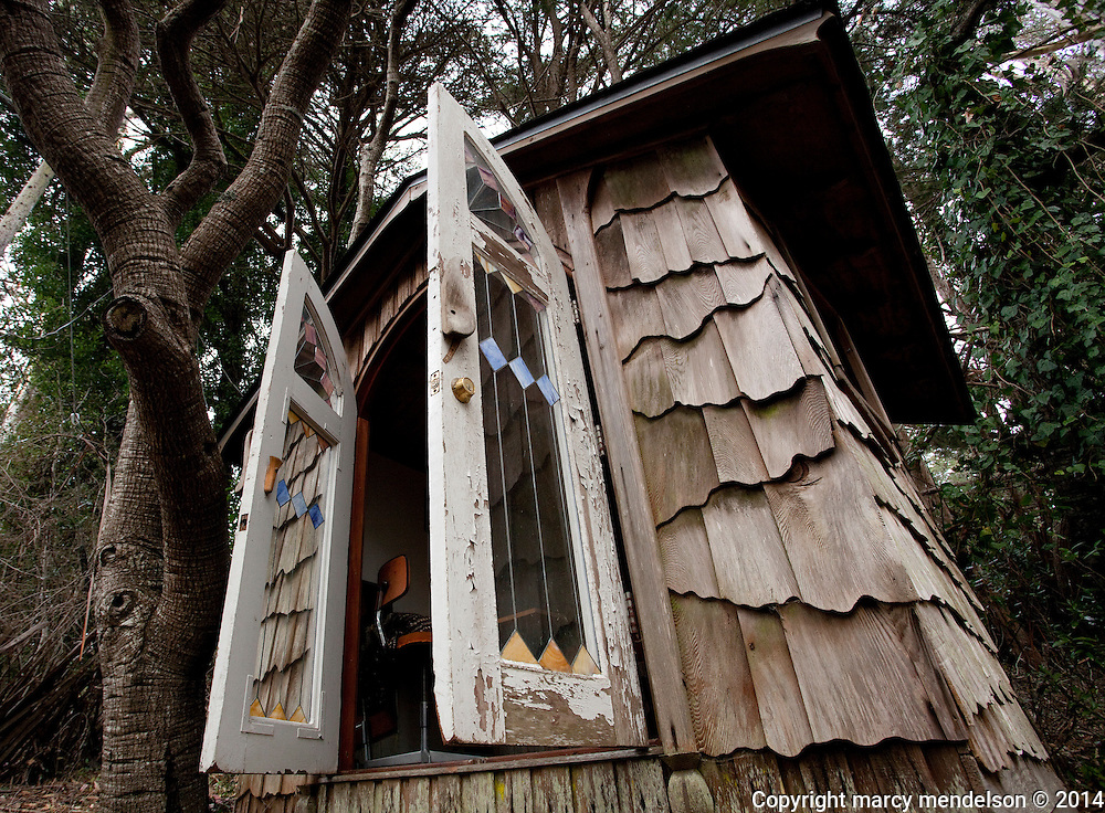 Elsa Gidlow, lesbian poet and founder of Druid Heights in 1959, kept a quaint writing studio next to her house.  Her desk and mattress are still inside the fairy-tale styled cabin.  She passed away at Druid Heights in 1986.