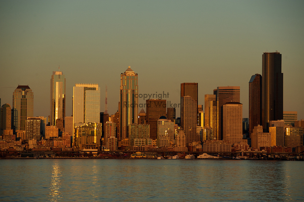 2010 October 29 - The Seattle skyline at sunset as seen from the shores of Alki in West Seattle, WA. CREDIT: Richard Walker