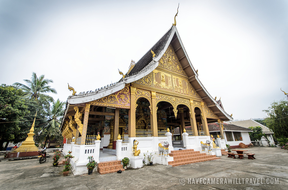 The main temple building at Wat Phonxay Sanasongkham in Luang Prabang, Laos.