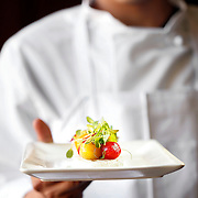 SHOT 8/12/11 3:16:10 PM - Chef Jose Guerrero holds a Caprese salad with Bufala Mozzarella, Tomato, Basil and a Blasamic Reduction $7 at Chloe nightclub and Mezze Lounge in downtown Denver, Co. The spot is the latest addition to Francois Safieddine's Lotus Concepts collection. The lounge menu is filled with nibbles from Spain, Greece, Italy and the Middle East. It also features a garden patio and club that opens later in the evening. (Photo by Marc Piscotty / © 2011)