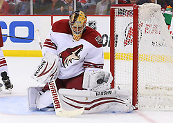 Mar 27, 2014; Newark, NJ, USA; Phoenix Coyotes goalie Thomas Greiss (1) makes a glove save during the first period of their game against the New Jersey Devils at Prudential Center.