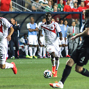 Costa Rica Forward Joel Campbell (9) dribbles the ball up the field in the first half of the inaugural freedom cup between Ireland and Costa Rica Friday. June. 6, 2014 at PPL Park in Chester PA.