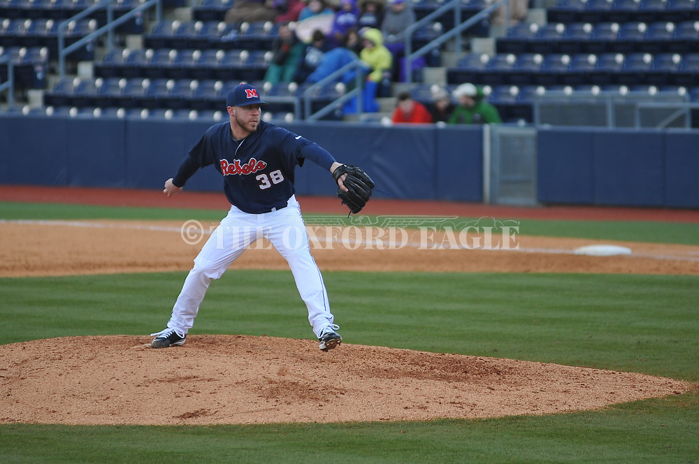 Ole Miss' Brett Huber (38) pitches vs. TCU at Oxford-University Stadium on Saturday, February 16, 2013. Ole Miss won 5-2.