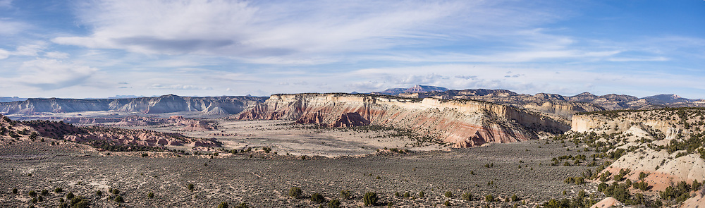 Grand Staircase-Escalante National Monument, Utah, USA. This viewpoint along Cottonwood Canyon Road is about 7 miles east of Kodachrome Basin State Park. The panorama was stitched from 3 overlapping photos.