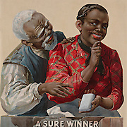 "Vintage Illustration: TITLE:  ""A sure winner"" Tobacco advertising poster showing an African American couple, as the woman offers the man a cigar. African American man and woman in cigar advertisement 1890-1900."