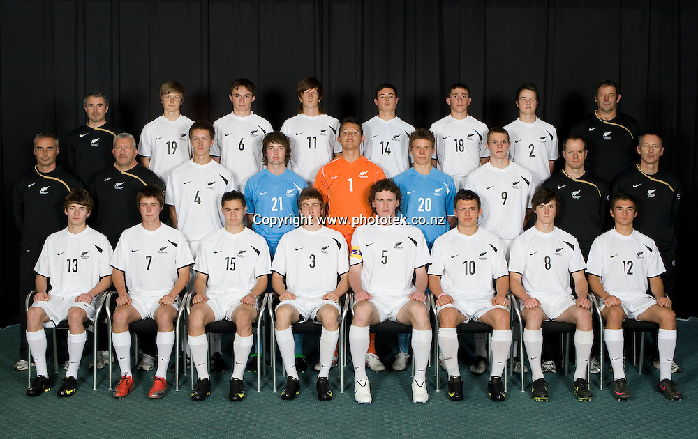 Team Photograph. Football Young All Whites New Zealand U17 Squad North Harbour Stadium Albany Friday 9th October 2009. Photo Shane Wenzlick/Photosport