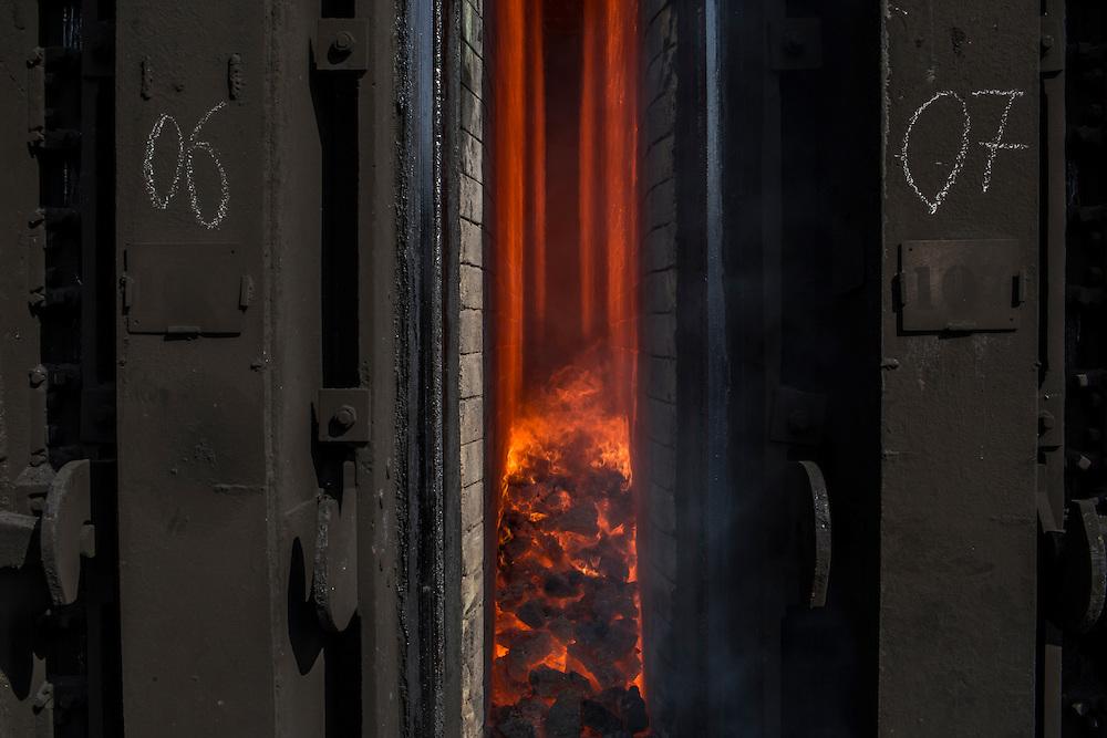 AVDIIVKA, UKRAINE - MARCH 18, 2015: Inside a coke furnace at the Avdiivka Coke and Steel plant in Avdiivka, Ukraine. CREDIT: Brendan Hoffman for The New York Times