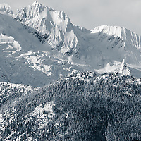 "The Tantalus Range as seen from Highway 99, ""the sea to sky"" highway, north of Squamish, BC, Canada."