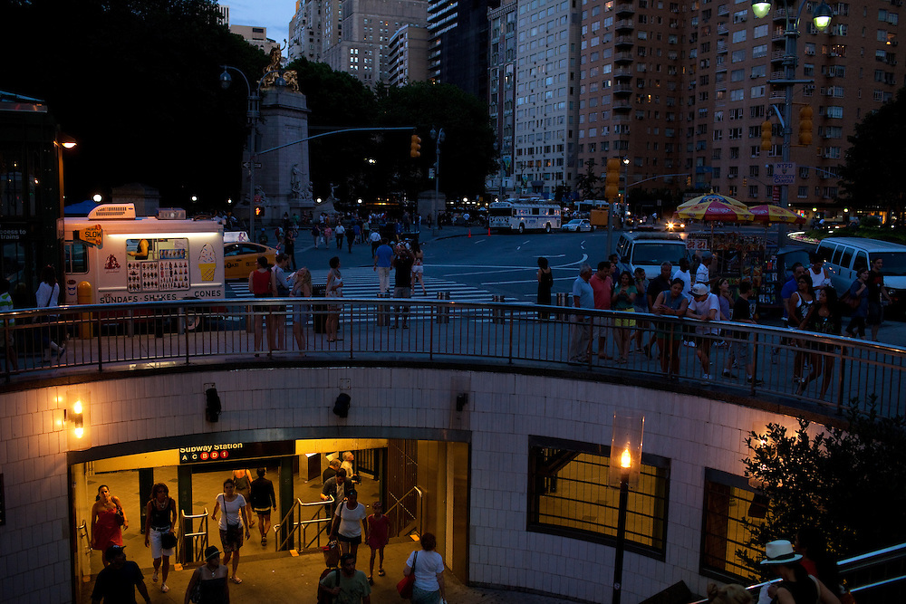 The Columbus Circle subway stop with Central Park in the background in New York on June 23, 2012.