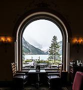 Chateau Lake Louise lobby cafe. Banff National Park, Alberta, Canada.