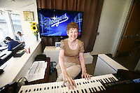 15 June 2011: Organist Nancy Bea Hefley 23+ year career as the official organist of the Los Angeles Dodgers. in the press box before a Major League Baseball game LA Dodgers vs the Cincinnati  Reds at Dodger Stadium during a day game. **Editorial Use Only**