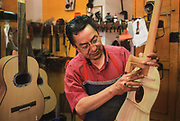 Paracho, a small purepecha village famous for its handmade guitars. Workshop of a guitar maker.