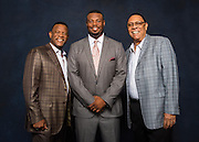 COOPERSTOWN, NY - JULY 23, 2016: Portrait of Hall of Famers Rickey Henderson, Ken Griffey Jr., and Tony Perez, photographed during the 2016 Hall of Fame Weekend on July 23, 2016 in Cooperstown, New York. (Photo by Jean Fruth)