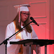 Senior Class President Ally Day addresses students during Red Lion Christian Academy commencement exercise Friday, May 29, 2015, at Glasgow Church in Bear, Delaware.