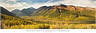 Composite panorama of Polar Bear and Eagle Peaks and Hurdygurdy Mountain overlooking Eagle River Valley in Chugach State Park in Southcentral Alaska. Autumn.