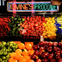 Produce Stand at Reading Terminal Market in Philadelphia, Pennsylvania<br /> In 1889, the Reading Railroad decided to displace a popular open-air market to make way for their new train station. After extensive negotiation, they agreed to create space for indoor stalls. This became the Reading Terminal Market on 12th and Arch Streets. Lovine&rsquo;s Produce is one of the 100 merchant who daily serve the palates of the locals.