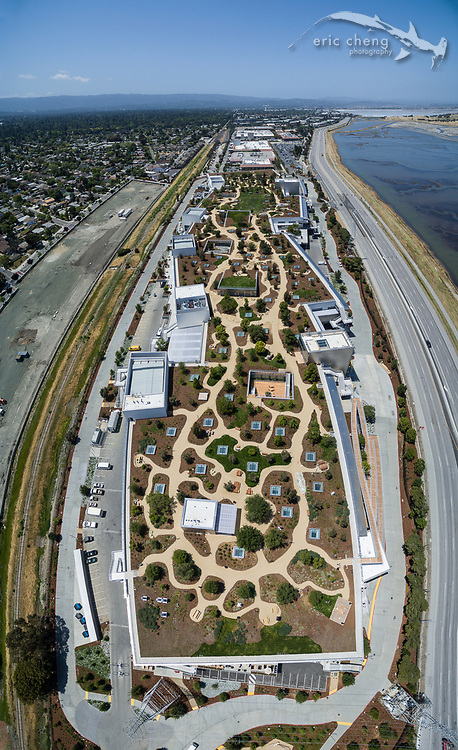Aerial vertical panorama of Facebook's new Building 20 in Menlo Park, California, which was designed by architect Frank Gehry.