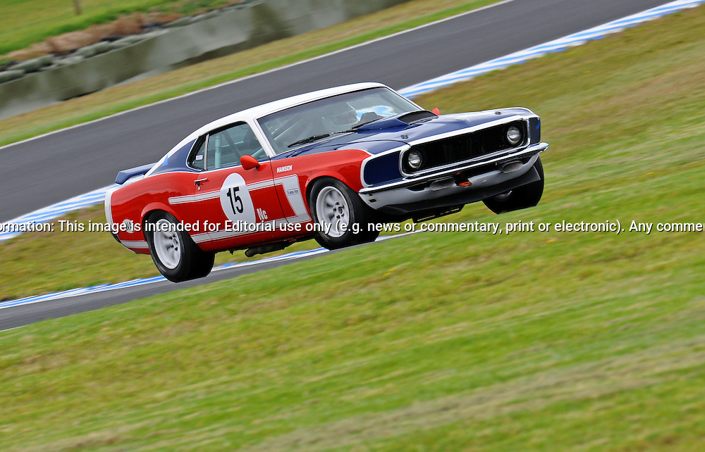 Darryl Hansen - Ford Mustang.Historic Motorsport Racing - Phillip Island Classic.18th March 2011.Phillip Island Racetrack, Phillip Island, Victoria.(C) Joel Strickland Photographics.Use information: This image is intended for Editorial use only (e.g. news or commentary, print or electronic). Any commercial or promotional use requires additional clearance.