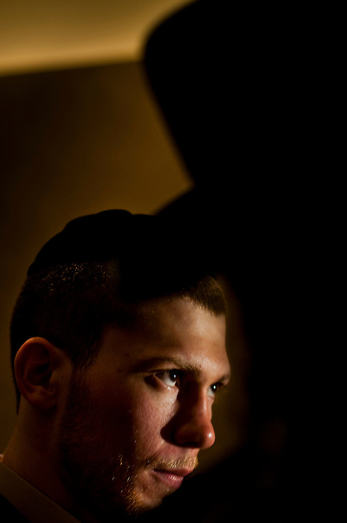 Jewish-American  boxer Dimitrij Salita at a press conference in New York City, prior to the title match against muslim Amir Khan..Photographer: Chris Maluszynski /MOMENT