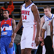 Grand Rapids Drive Center Hasheem Thabeet (34) seen on the court in the first half of a NBA D-league regular season basketball game between the Delaware 87ers and the Grand Rapids Drive (Detroit Pistons) Saturday, Apr. 04, 2015 at The Bob Carpenter Sports Convocation Center in Newark, DEL.