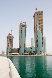 View of new office towers under construction at Bahrain Financial Harbour district in Manama Bahrain
