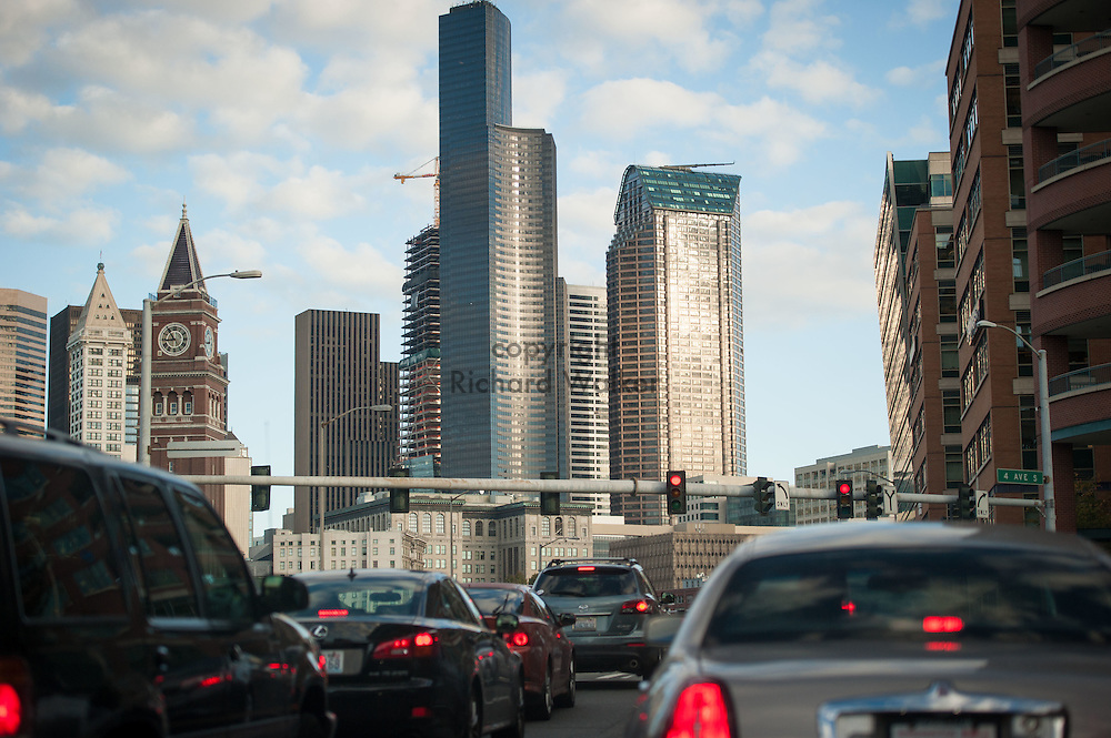 2016 October 11 - Columbia Tower, Seattle Municipal Tower and downtown skyline with traffic on 4th Ave, Seattle, WA, USA. By Richard Walker