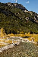 Teton River, Lewis and Clark National Forest, west of Choteau Montana, Fall, Autumn, couple, dogs