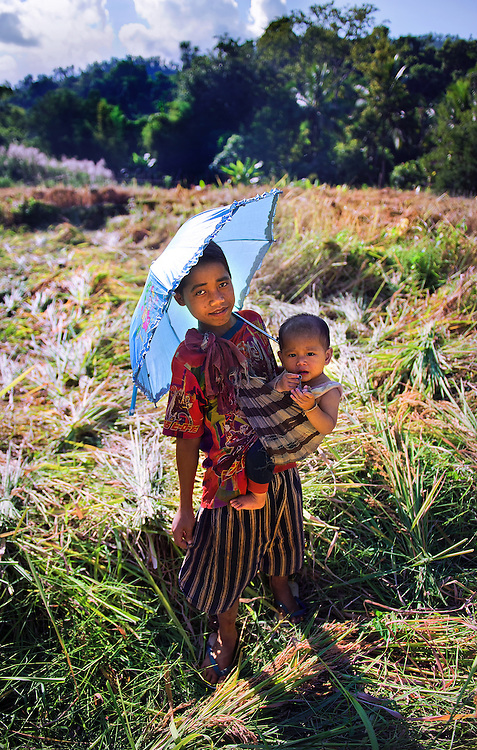 Children in a field of recently harvested rice near Luang Prabang, Laos.