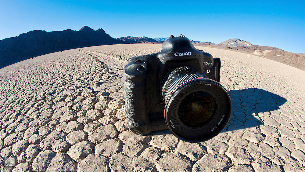 A dSLR sitting on a track at the Racetrack in Death Valley National Park, California