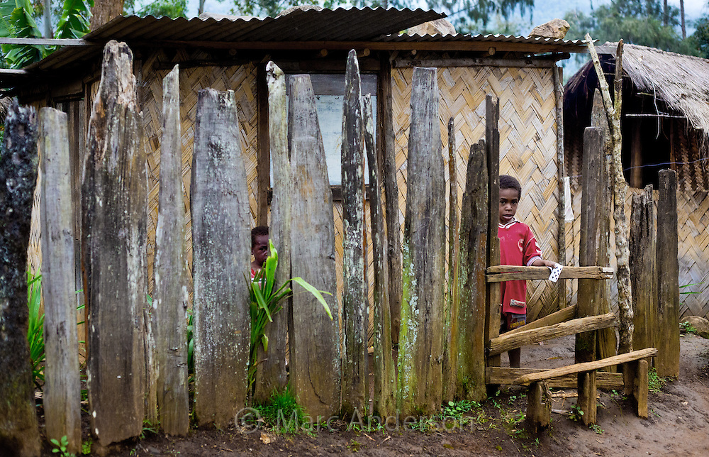 Young boy looking through a fence in front of his home, Eastern Highlands Province, Papua New Guinea