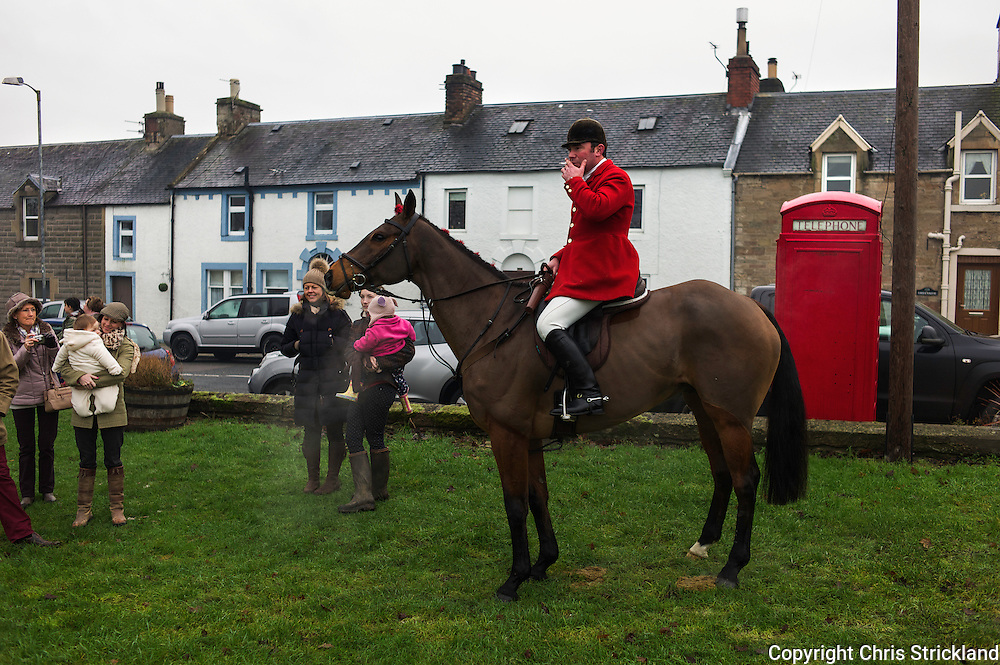 Joint Master of the Jedforest Hunt Ronan Brown enjoys a cigarette on Boxing Day at Denholm.