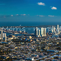 Panoramic aerial of downtown Miami showing NE 36th Street to south Brickell avenue. This version is watermarked, contact us to license and clean version.
