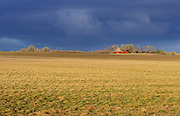 Field and red barn at Finley National Wildlife Refuge, Willamette Valley, Oregon.