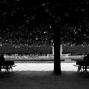Peaceful scene of two couples sitting on two separate benches in front of the flower gardens under the shade of one tree behind Notre Dame Cathedral in Paris, France. Notre Dame de Bonne-Nouvelle, our lady of good news, along the River Siene.