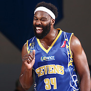 Delaware 87ers Guard BARON DAVIS (34) celebrates after knocking down a three point shot in the second half of a NBA D-league regular season basketball game between the Delaware 87ers and the Iowa Energy Friday, Mar. 04, 2016. at The Bob Carpenter Sports Convocation Center in Newark, DEL.