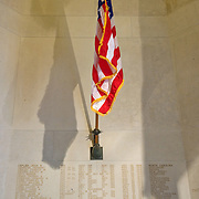 The american flag at the chapel of  Somme American Cemetery and Memorial located in Bony, Aisne, Picardy, France. It contains the graves of 1,844 of the United States' military dead from World War I