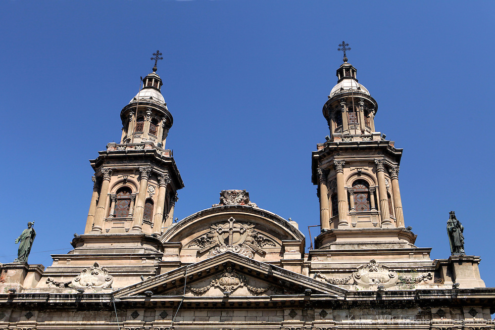 South America, Chile, Santiago. The Metropolitan Cathedral of Santiago.