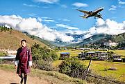 Bhutan, Paro valley, Landscape, Airplane, plane, young man, boy