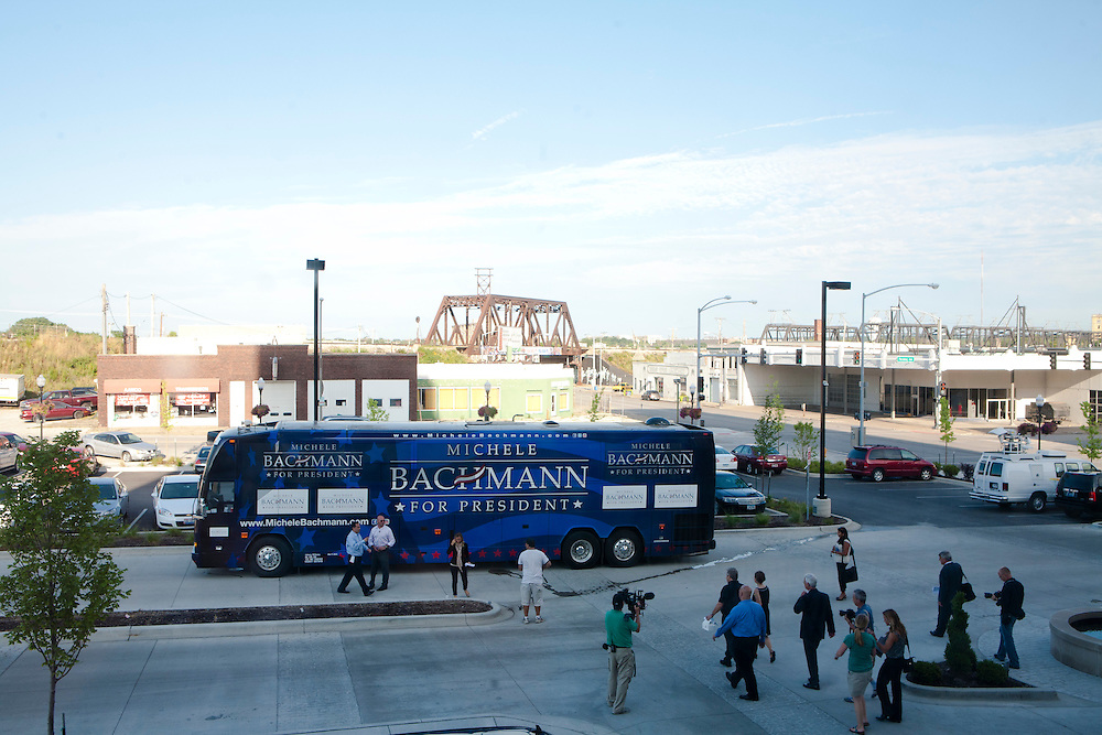 Republican presidential hopeful Michele Bachmann and her entourage leave a campaign stop on Sunday, July 24, 2011 in Davenport, IA.
