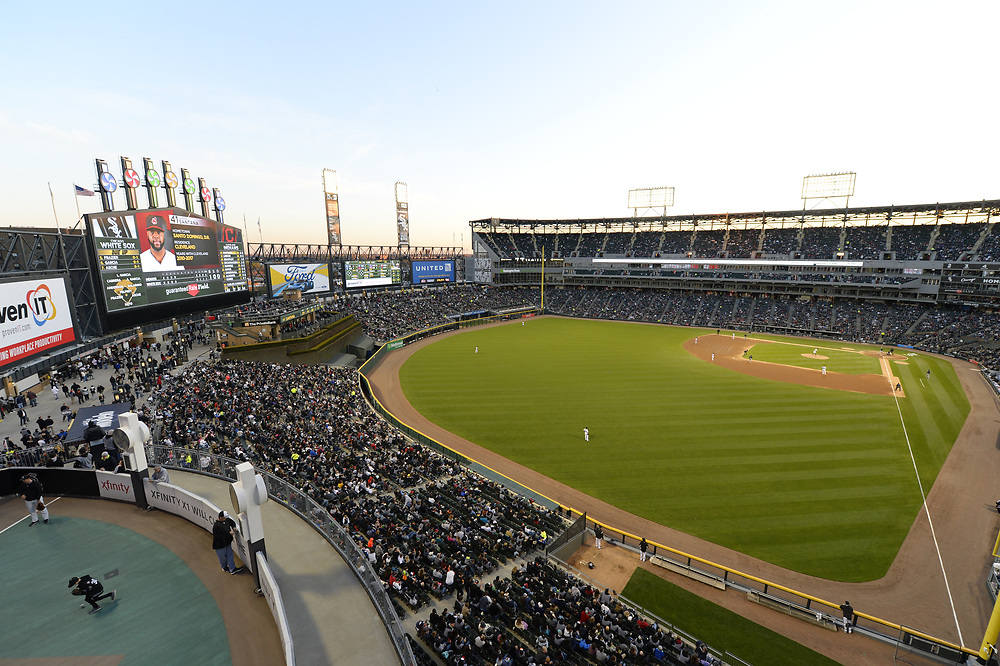 CHICAGO - APRIL 22:  A general view of Guaranteed Rate Field as 32, 044 fans look on to watch the Cleveland Indians play the Chicago White Sox on April 22, 2017 at Guaranteed Rate Field in Chicago, Illinois.  The Indians defeated the White Sox 7-0.  (Photo by Ron Vesely/MLB Photos via Getty Images)