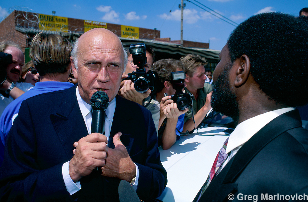 President FW de Klerk visits Soweto ahead of the 1994 election in South Africa.