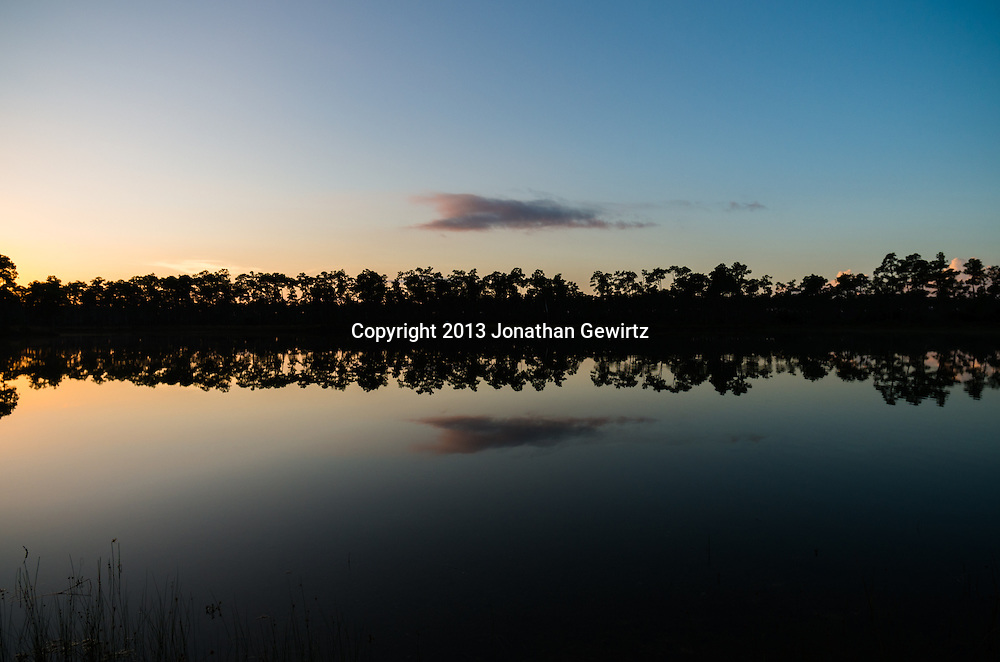 Early-morning clouds reflect from the surface of the pond at Long Pine Key in Everglades National Park, Florida. WATERMARKS WILL NOT APPEAR ON PRINTS OR LICENSED IMAGES.