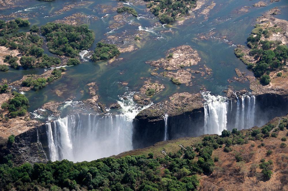 Aerial view, Victoria Falls, Zambesi River, Livingstone, Southern Province, Zambia